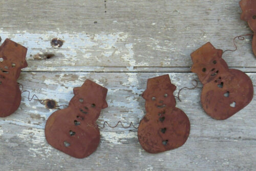 Rusty Snowman Garland Primitive Christmas Tree Decoration Holiday Winter Hearts
