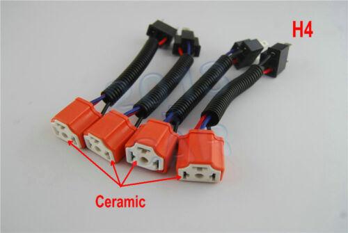 "4pcs 7""in Headlight H4 Ceramic High Heat Light Bulb Wiring Harness Socket Plugs"