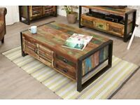 Rustic Industrial Large Coffee Table with Storage - Reclaimed Wood