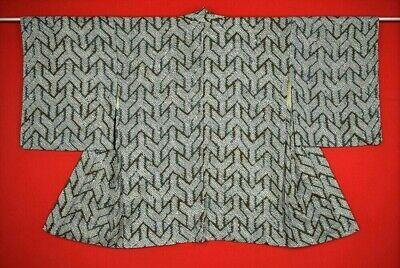 Vintage Japanese Brown/Blue/Ivory Silk Bishamon SHIBORI Kimono Haori Jacket MED