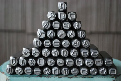 """SUPPLY GUY (1) 3/8"""" (8mm) US State Metal Punch Stamp (Not a Set) Square Shank"""