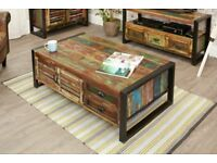 Java Rustic Industrial Four Door Four Drawer Large Coffee Table- Reclaimed Boatwood - Free delivery
