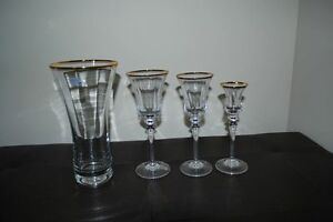 Mikasa Jamestown Gold Vase and Candle Holder Never Used