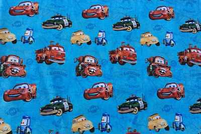Disney Cars Cotton Fabric - Cars Blue Map Boy Fabric Disney Lightning McQueen Tater Cotton Fabric t6/23
