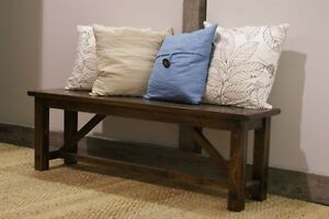 Rustic Solid Wood Bench $595 and Console Table $995 - by LIKEN Woodworks