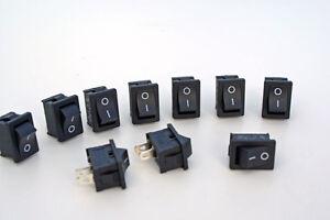 10 Stück Mini - Wippschalter  Wippenschalter Schalter 250V/3A Snap in Montage