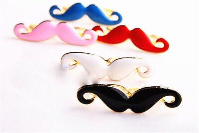 biker moustache double finger ring 2 colours (Biker Moustache)