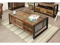 Rustic Industrial Large Coffee Table - Reclaimed Wood