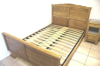 SLATTED Bed Base French + Odd Size Antique Wooden Beds Fits 4 ft to 5 ft Wide