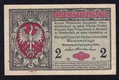 POLAND ---- 2  MARKI  1916 - 1917 ---- GERMAN  OCCUPATION ---- WWI ----- VF---