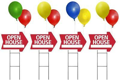 Large Open House Sign Kit With Balloons And Stands -4pk Arrow Corrugated Signs