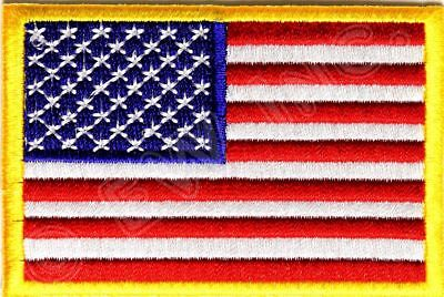 AMERICAN FLAG EMBROIDERED PATCH iron-on GOLD BORDER USA US United (American Patch)