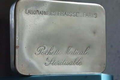 1930s Antique French Pill Box Paris Engraved Chrome Metal Medicine Nurse Doctor