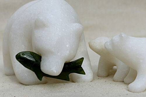 Hand Carved White Marble Stone Bear Family Green Jade Fish Mom Feeding Cubs