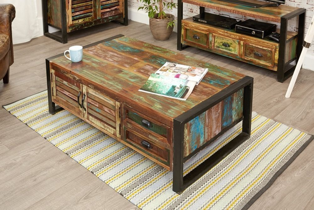 Rustic Industrial Large Coffee Table With Storage Reclaimed Wood