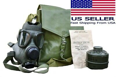 Military Tactical Full Face Gas Mask Respirator M74 W 40mm Filter Carry Bag