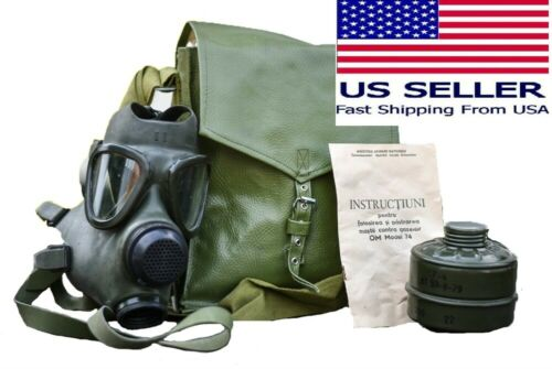 Military Tactical Full Face Gas Mask Respirator M74 w 40mm Filter & Carry Bag