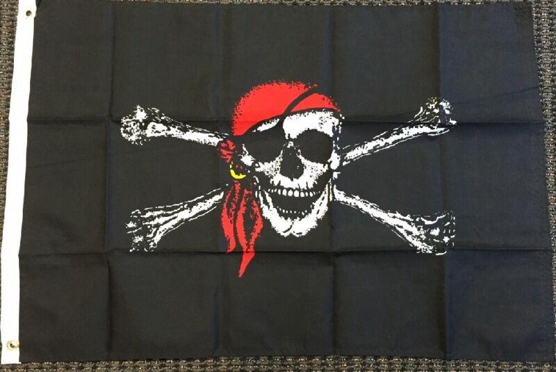 PIRATE FLAG 3x5 Jolly Roger Bandana Skull Crossbone Ship Banner Boat Pennant New
