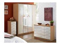 Brand New New Melbourne 4 Door Mirrored Wardrobe / 4+4 Drawer Chest