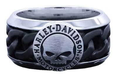 Harley Davidson Black Ring - Harley-Davidson Men's Black Steel Chain Willie G Skull Ring HSR0030