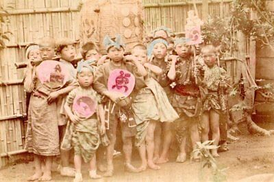 Albumen image c1880's Japan children peasant? boys fashion with painted fans