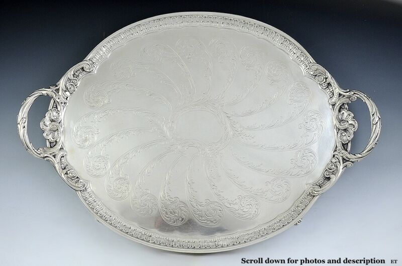 """1890 Antique c1890 Large German 800 Silver Oval Footed Serving Tray 16.5"""" X 24"""""""