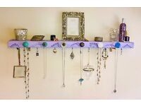 pretty lilac hand crafted shabby chic jewellery organiser and shelf