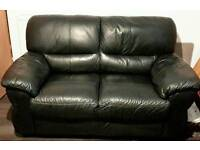 2 seater black leather sofa for swap