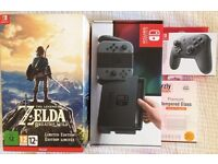 Nintendo Switch Grey Console Bundle, Zelda BOTW Limited Edition, Orzly Protector