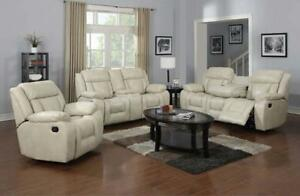 Beige Recliner Set with Drop down Tray and Console - Samantha (GL08-6631) (BD-1392)