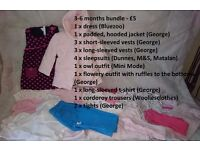 Large bundle of 3-6 months girl's clothes - freshly laundered - £5