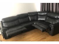 Excellent Condition Black leather sectional corner sofa from Harvey's