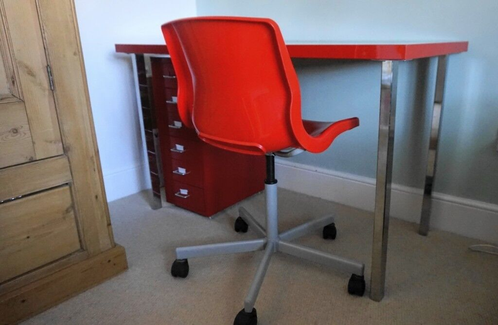 Red Ikea Desk Chair And Drawer
