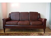 Contemporary modern mid century style leather three seater couch sofa