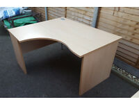 Office Desks, corner desk plus smaller desk both in beech wood