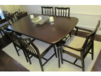 STAG MINSTREL DINING TABLE 6 MATCHING CHAIRS. EXTENDABLE EXTENDING WOOD TABLE. 2 CARVERS WITH ARMS