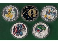 A SELECTION OF FOUR SILVER PLATED & ONE GOLD PLATED COINS, PLUTO,DONALD DUCK,JAMES BOND ETC