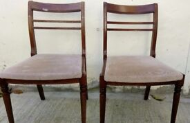 2 Solid Wood Dinning Chairs with Tapestry Seats