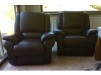 LA-Z-BOY LAZY BOY DENVER CHOCOLATE BROWN LEATHER RECLINER CHAIRS X 2