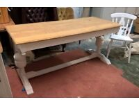 Rare Large Solid Oak Farmhouse Refectory Dining Table Vintage White *FREE DELIVERY*Shabby Chic(pine)