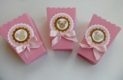 Pink and Gold Minnie Mouse Party favors/ goodie bags/ Popcorn  Box SET OF - Baby Shower Favor Bags And Boxes