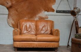 Leather Vintage 2 Seater Sofa Tan Brown