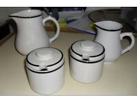 Retro Rayware White with black rim Jugs and Pots