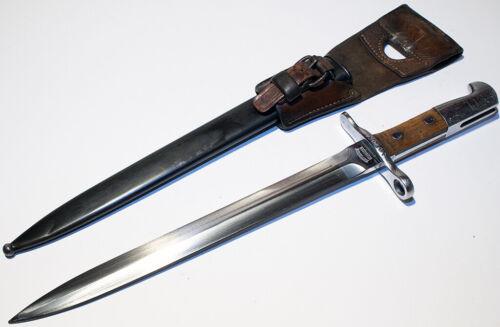 Original Swiss Model 1918 Schmidt Rubin Bayonet Scabbard and Leather frog