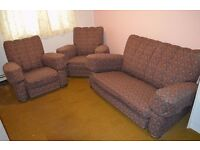 Beautiful Art Deco Style Three Piece Suite - Sofa, 2 Chairs
