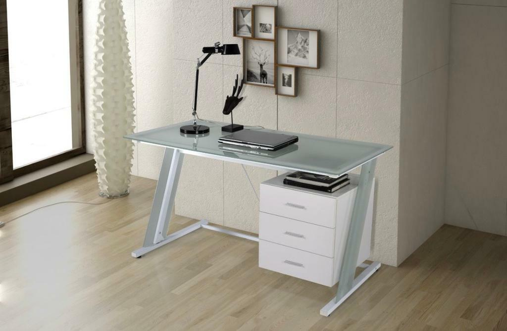 Stylish Contemporary White Metal Framed Computer Desk with ...