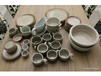 Vintage Poole Pottery Stoneware Grey Speckled Dinner & Tea Set (not complete)