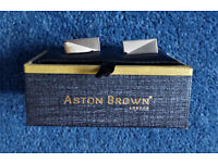 Aston Brown London Cufflinks, Silver Metal Dual Polished and Matt Finish, Boxed Unworn Gift, Mint