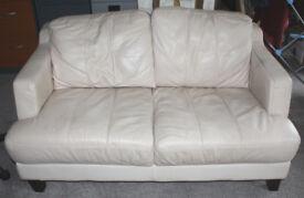 Cream leather sofa - 2 seater - 146cm wide