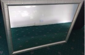 Large silver wood framed mirror